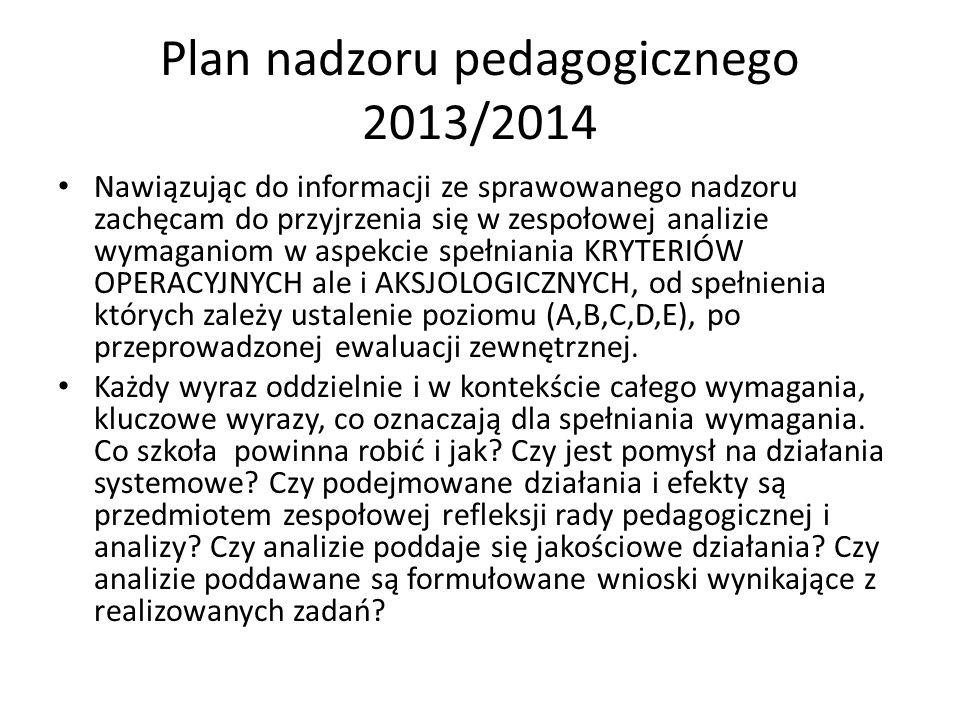 Plan nadzoru pedagogicznego 2013/2014 Nawiązując do informacji ze sprawowanego nadzoru zachęcam do przyjrzenia się w zespołowej analizie wymaganiom w
