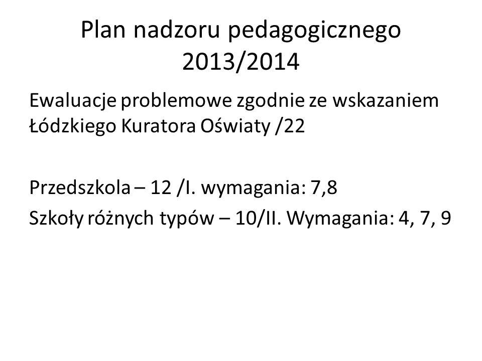 Plan nadzoru pedagogicznego 2013/2014 Ewaluacje problemowe zgodnie ze wskazaniem Łódzkiego Kuratora Oświaty /22 Przedszkola – 12 /I. wymagania: 7,8 Sz