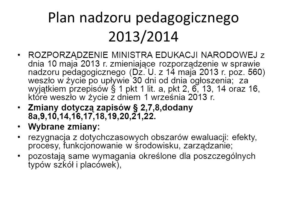 Plan nadzoru pedagogicznego 2013/2014 ROZPORZĄDZENIE MINISTRA EDUKACJI NARODOWEJ z dnia 10 maja 2013 r. zmieniające rozporządzenie w sprawie nadzoru p