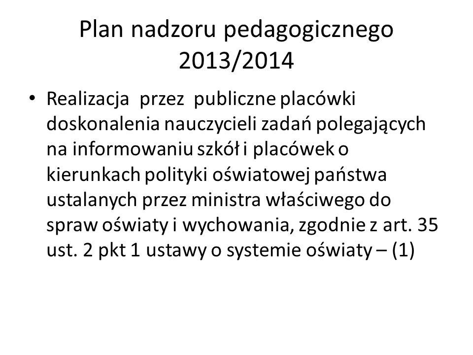Plan nadzoru pedagogicznego 2013/2014 Realizacja przez publiczne placówki doskonalenia nauczycieli zadań polegających na informowaniu szkół i placówek