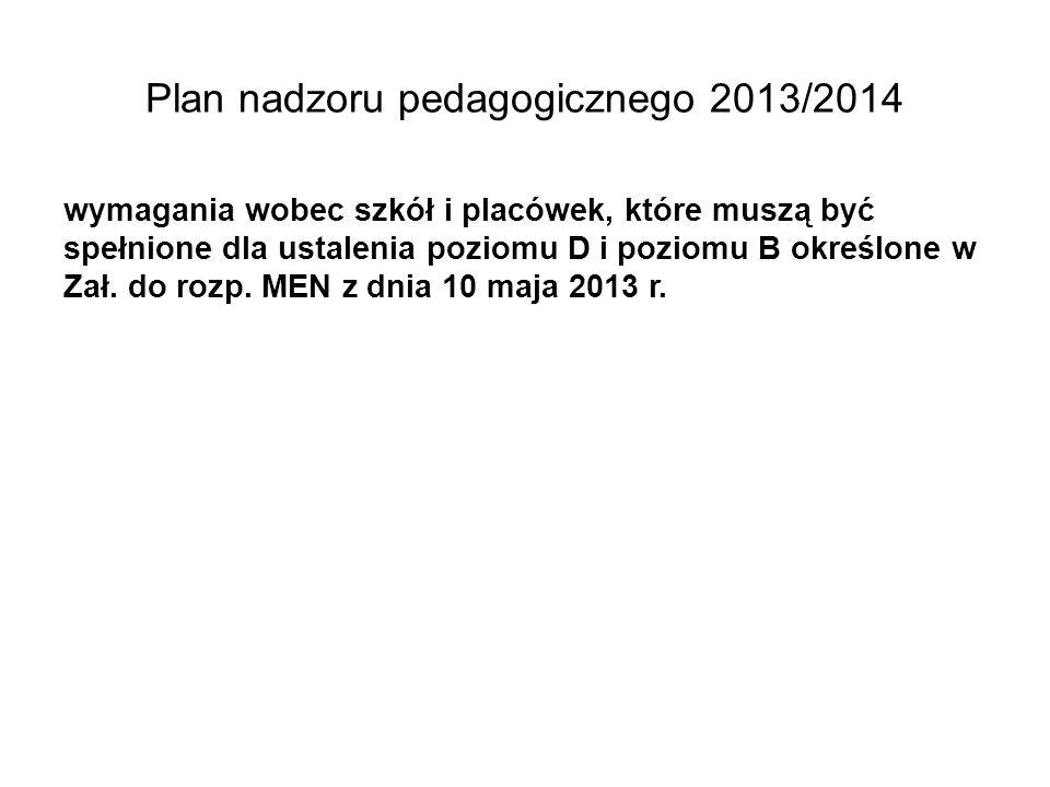 Plan nadzoru pedagogicznego 2013/2014 wymagania wobec szkół i placówek, które muszą być spełnione dla ustalenia poziomu D i poziomu B określone w Zał.
