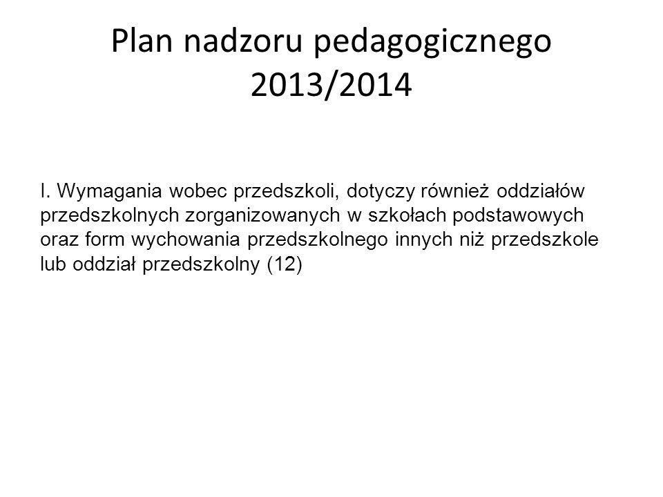 Plan nadzoru pedagogicznego 2013/2014 I. Wymagania wobec przedszkoli, dotyczy również oddziałów przedszkolnych zorganizowanych w szkołach podstawowych