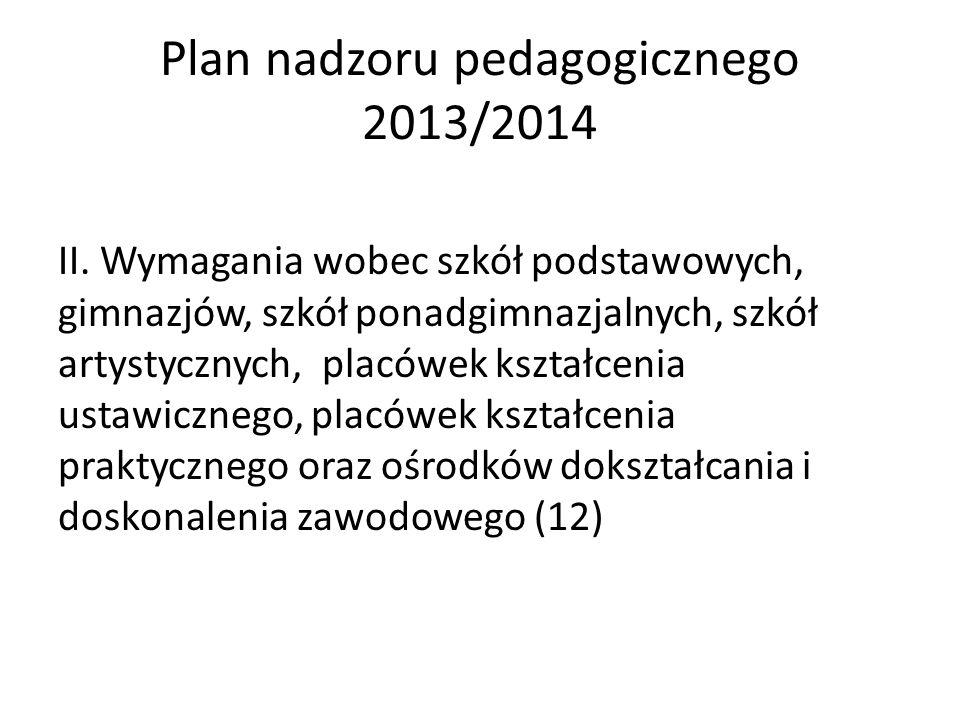 Plan nadzoru pedagogicznego 2013/2014 II. Wymagania wobec szkół podstawowych, gimnazjów, szkół ponadgimnazjalnych, szkół artystycznych, placówek kszta