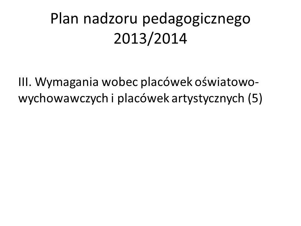 Plan nadzoru pedagogicznego 2013/2014 III. Wymagania wobec placówek oświatowo- wychowawczych i placówek artystycznych (5)