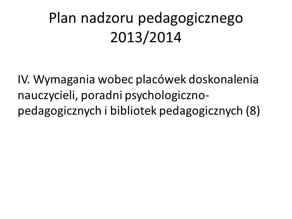 Plan nadzoru pedagogicznego 2013/2014 IV. Wymagania wobec placówek doskonalenia nauczycieli, poradni psychologiczno- pedagogicznych i bibliotek pedago