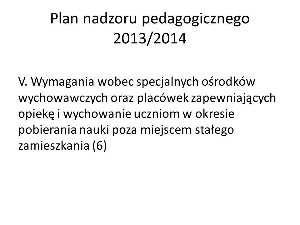 Plan nadzoru pedagogicznego 2013/2014 V. Wymagania wobec specjalnych ośrodków wychowawczych oraz placówek zapewniających opiekę i wychowanie uczniom w