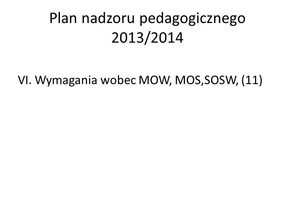 Plan nadzoru pedagogicznego 2013/2014 VI. Wymagania wobec MOW, MOS,SOSW, (11)