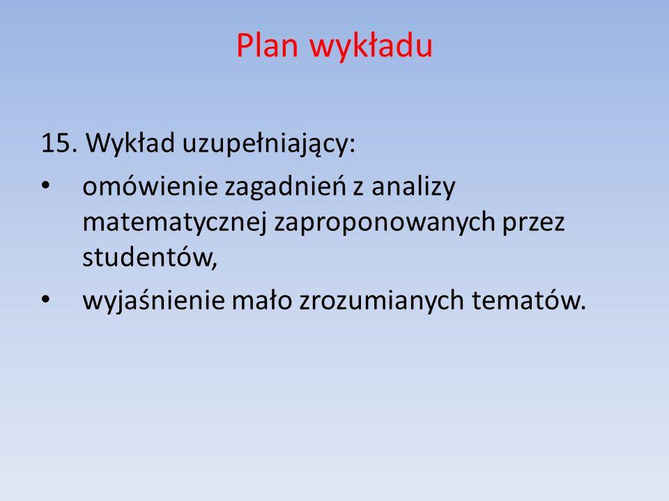 Plan wykładu 15. Wykład uzupełniający: omówienie zagadnień z analizy matematycznej zaproponowanych przez studentów, wyjaśnienie mało zrozumianych tema