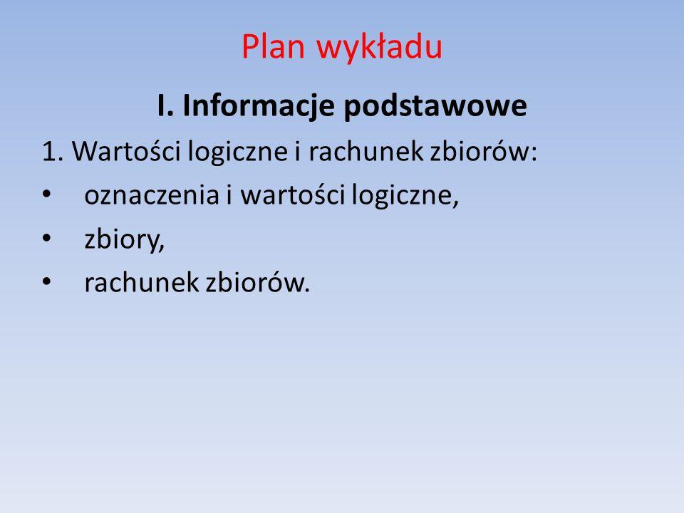 Plan wykładu I. Informacje podstawowe 1. Wartości logiczne i rachunek zbiorów: oznaczenia i wartości logiczne, zbiory, rachunek zbiorów.