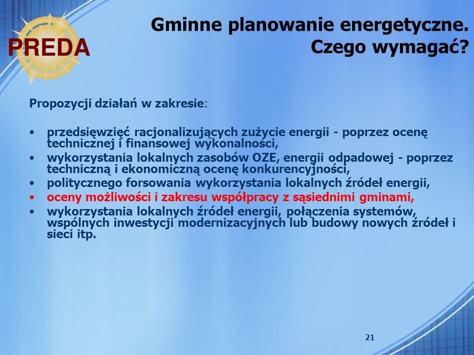 21 Propozycji działań w zakresie: przedsięwzięć racjonalizujących zużycie energii - poprzez ocenę technicznej i finansowej wykonalności, wykorzystania