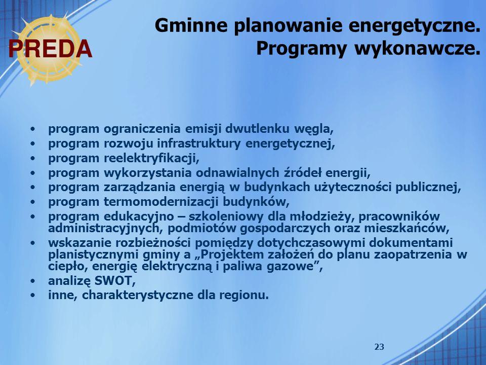 23 program ograniczenia emisji dwutlenku węgla, program rozwoju infrastruktury energetycznej, program reelektryfikacji, program wykorzystania odnawial