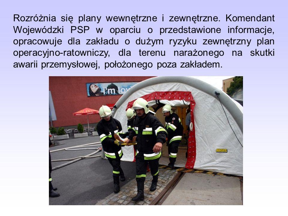 Rozróżnia się plany wewnętrzne i zewnętrzne. Komendant Wojewódzki PSP w oparciu o przedstawione informacje, opracowuje dla zakładu o dużym ryzyku zewn