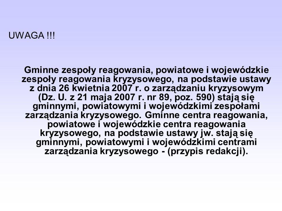 Literatura: Kosowski B.Programowanie działań na wypadek zaistnienia sytuacji kryzysowych.