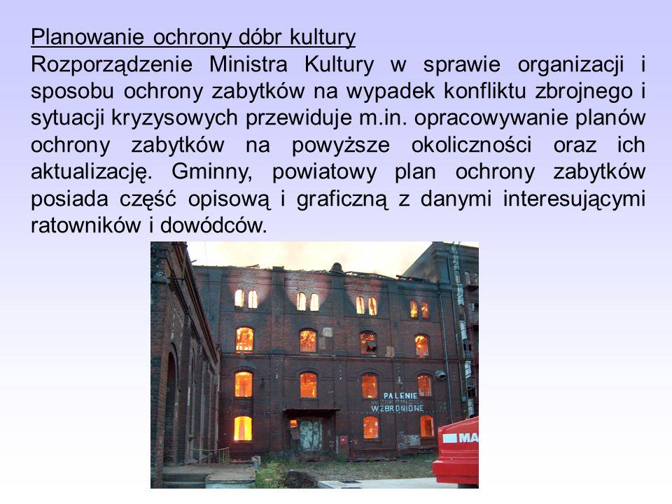 Planowanie ochrony dóbr kultury Rozporządzenie Ministra Kultury w sprawie organizacji i sposobu ochrony zabytków na wypadek konfliktu zbrojnego i sytuacji kryzysowych przewiduje m.in.