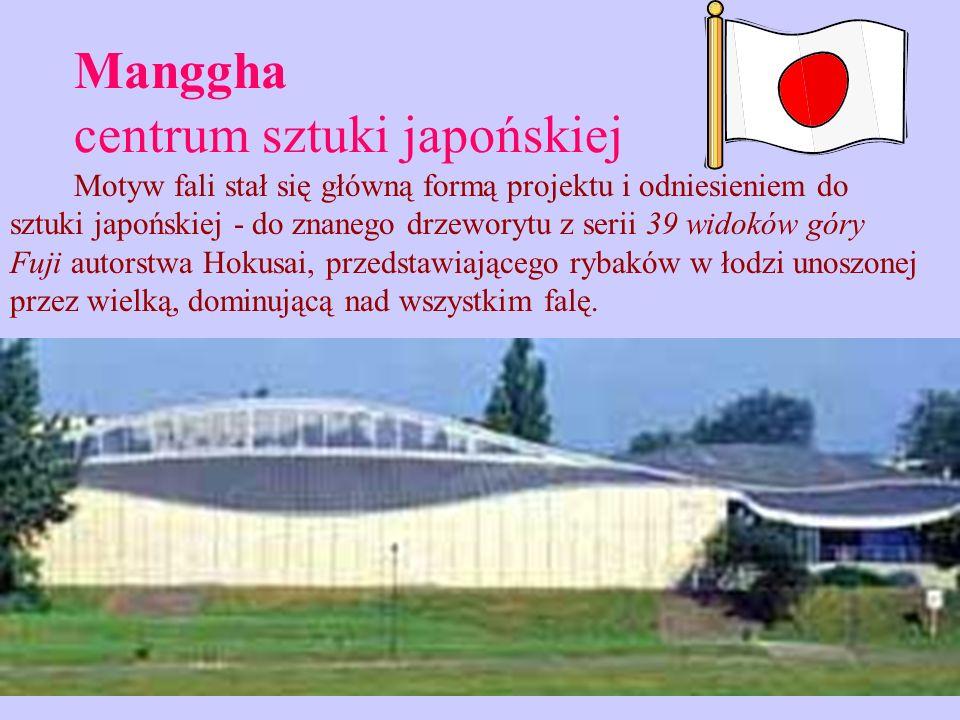 Manggha centrum sztuki japońskiej Motyw fali stał się główną formą projektu i odniesieniem do sztuki japońskiej - do znanego drzeworytu z serii 39 wid