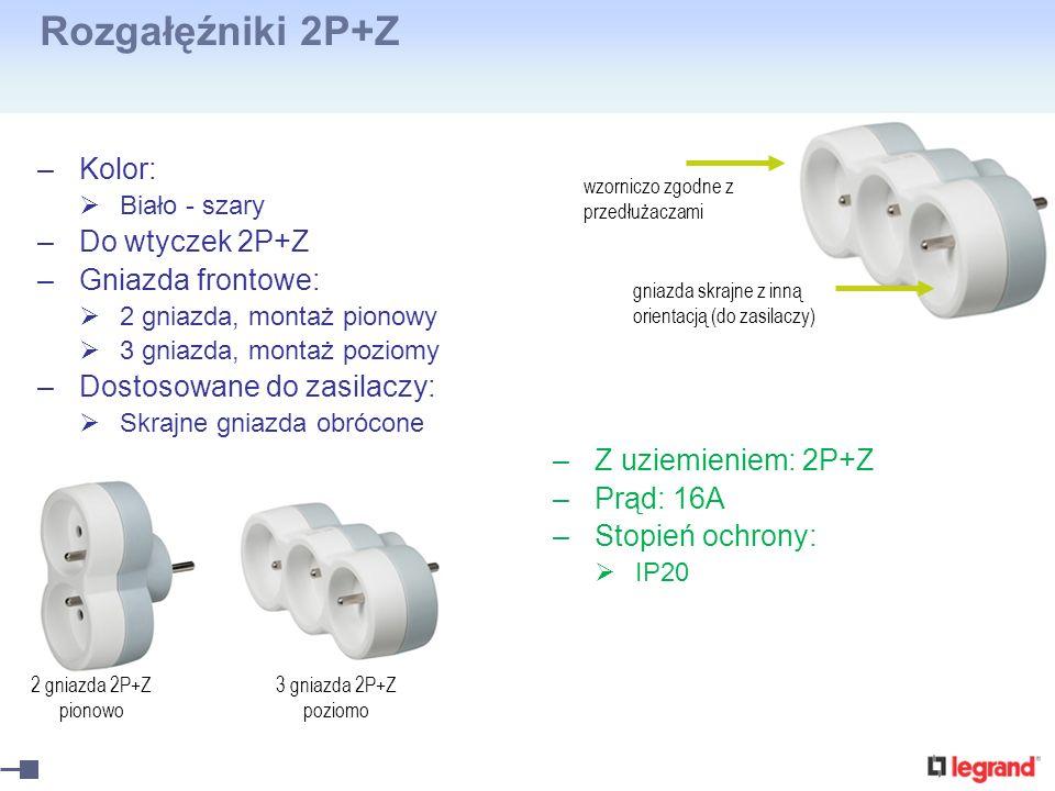 Rozgałęźniki 2P+Z –Kolor: Biało - szary –Do wtyczek 2P+Z –Gniazda frontowe: 2 gniazda, montaż pionowy 3 gniazda, montaż poziomy –Dostosowane do zasila