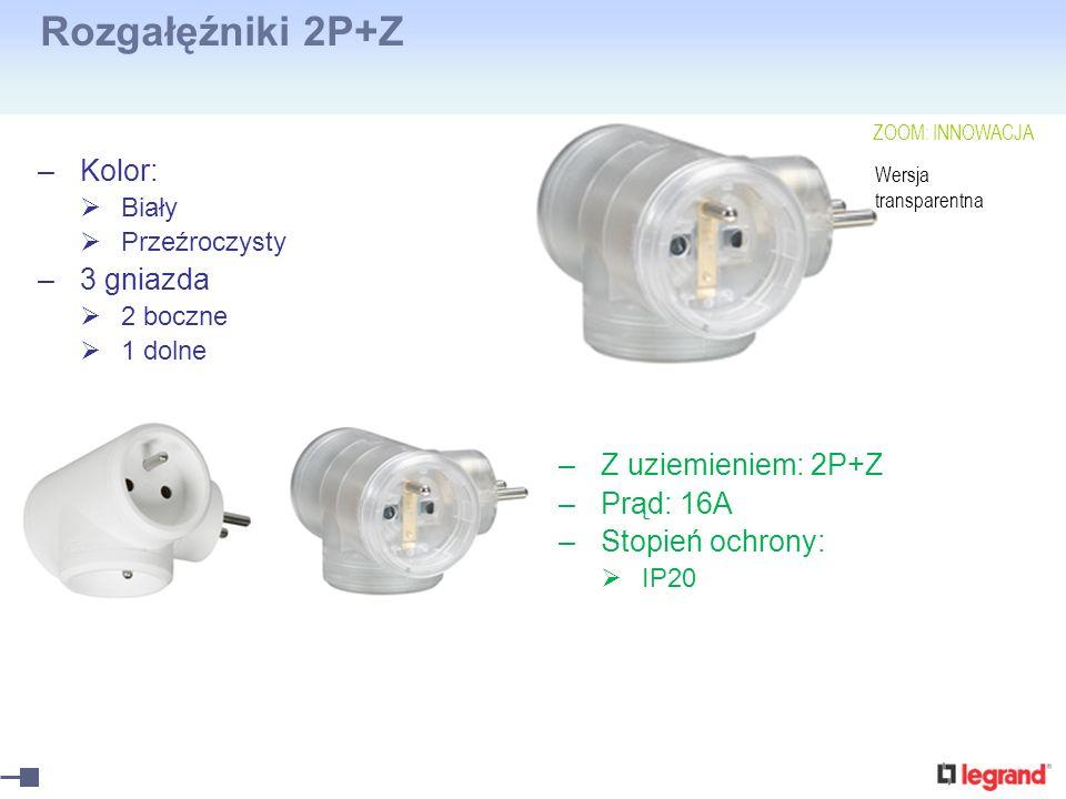 Rozgałęźniki 2P+Z –Kolor: Biały Przeźroczysty –3 gniazda 2 boczne 1 dolne –Z uziemieniem: 2P+Z –Prąd: 16A –Stopień ochrony: IP20 Wersja transparentna