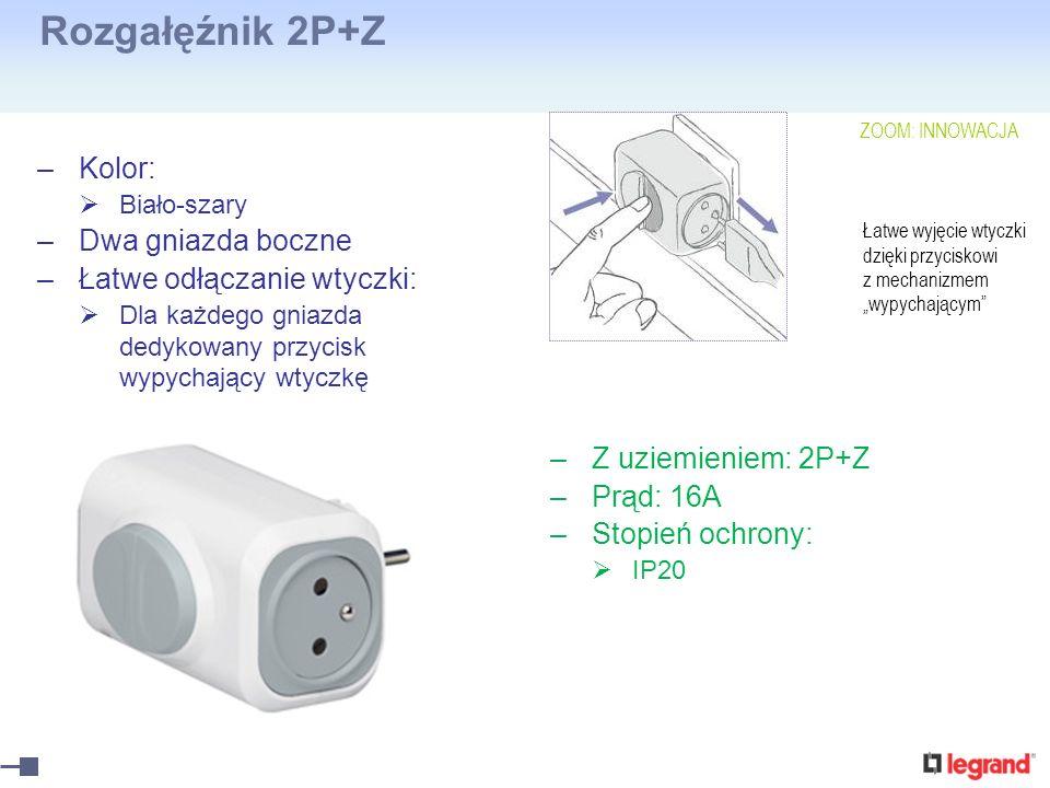Rozgałęźnik 2P+Z –Kolor: Biało-szary –Dwa gniazda boczne –Łatwe odłączanie wtyczki: Dla każdego gniazda dedykowany przycisk wypychający wtyczkę –Z uzi