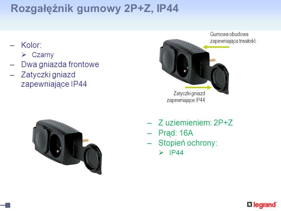 Rozgałęźnik gumowy 2P+Z, IP44 –Kolor: Czarny –Dwa gniazda frontowe –Zatyczki gniazd zapewniające IP44 –Z uziemieniem: 2P+Z –Prąd: 16A –Stopień ochrony