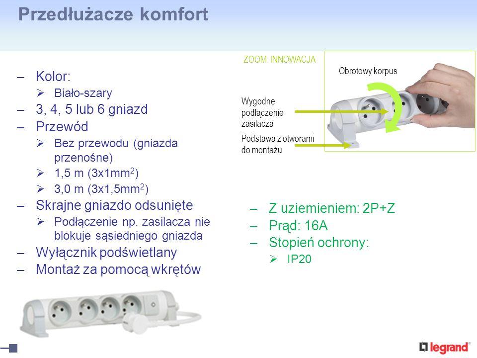 Przedłużacze komfort –Kolor: Biało-szary –3, 4, 5 lub 6 gniazd –Przewód Bez przewodu (gniazda przenośne) 1,5 m (3x1mm 2 ) 3,0 m (3x1,5mm 2 ) –Skrajne