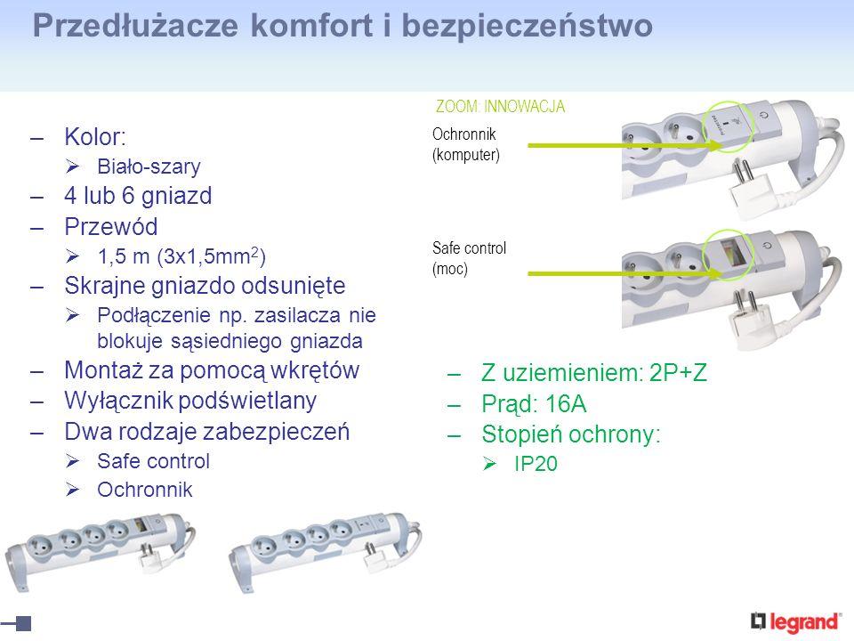 Przedłużacze komfort i bezpieczeństwo –Kolor: Biało-szary –4 lub 6 gniazd –Przewód 1,5 m (3x1,5mm 2 ) –Skrajne gniazdo odsunięte Podłączenie np. zasil