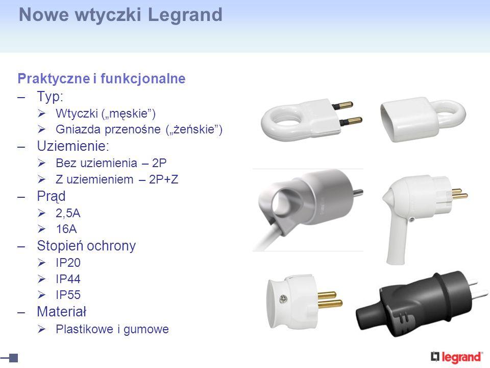 Nowe wtyczki Legrand Praktyczne i funkcjonalne –Typ: Wtyczki (męskie) Gniazda przenośne (żeńskie) –Uziemienie: Bez uziemienia – 2P Z uziemieniem – 2P+