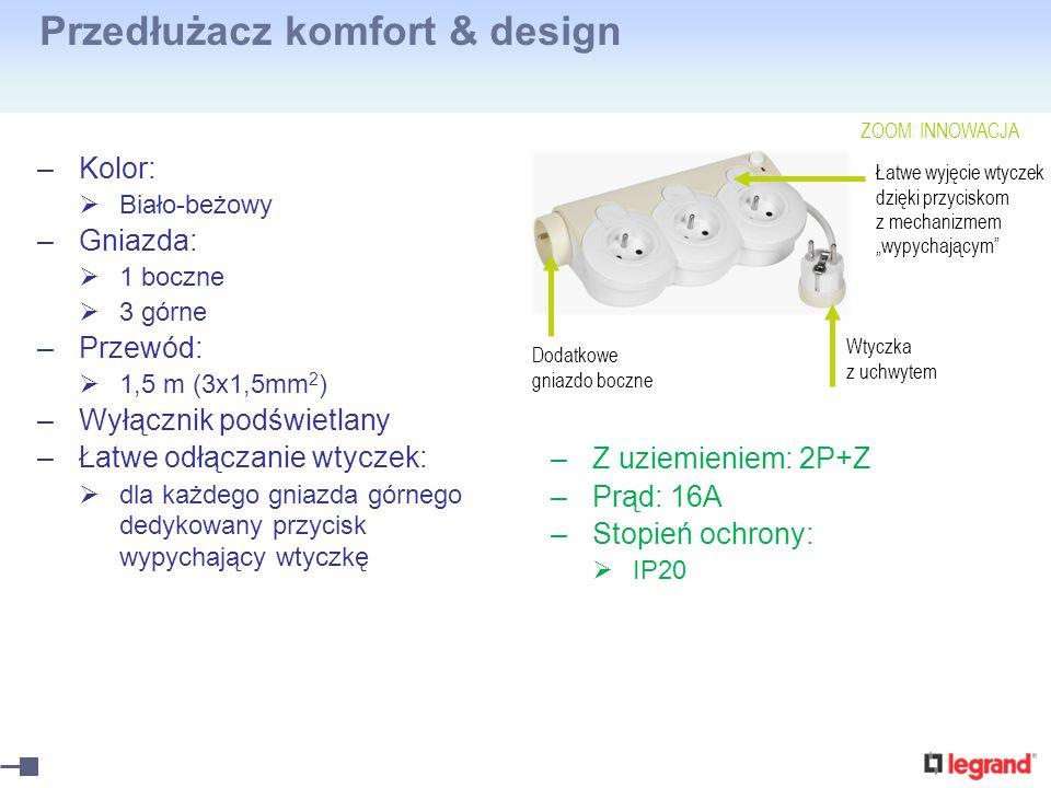 Przedłużacz komfort & design –Kolor: Biało-beżowy –Gniazda: 1 boczne 3 górne –Przewód: 1,5 m (3x1,5mm 2 ) –Wyłącznik podświetlany –Łatwe odłączanie wt