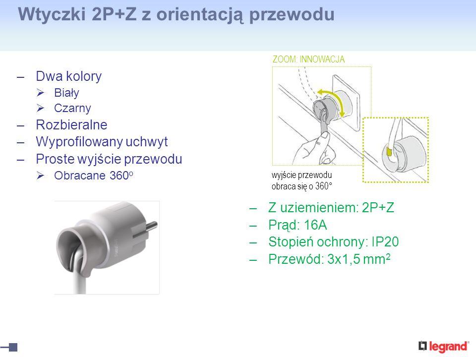 Wtyczki 2P+Z z orientacją przewodu –Dwa kolory Biały Czarny –Rozbieralne –Wyprofilowany uchwyt –Proste wyjście przewodu Obracane 360 o –Z uziemieniem: