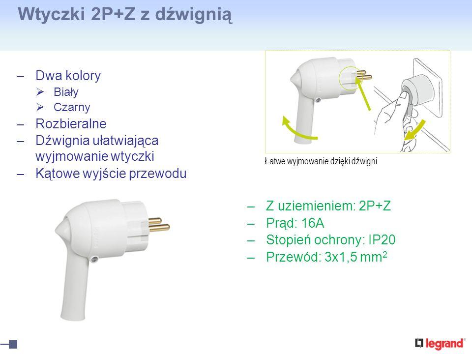 Wtyczki 2P+Z z dźwignią –Dwa kolory Biały Czarny –Rozbieralne –Dźwignia ułatwiająca wyjmowanie wtyczki –Kątowe wyjście przewodu –Z uziemieniem: 2P+Z –