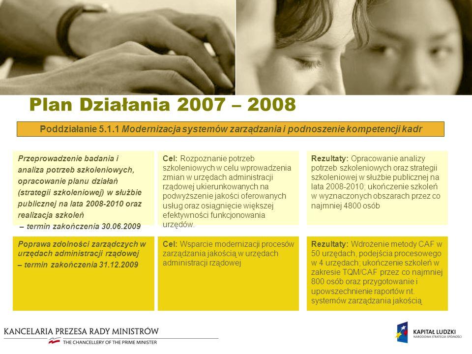 Plan Działania 2007 – 2008 Poddziałanie 5.1.1 Modernizacja systemów zarządzania i podnoszenie kompetencji kadr Cel: Rozpoznanie potrzeb szkoleniowych w celu wprowadzenia zmian w urzędach administracji rządowej ukierunkowanych na podwyższenie jakości oferowanych usług oraz osiągnięcie większej efektywności funkcjonowania urzędów.