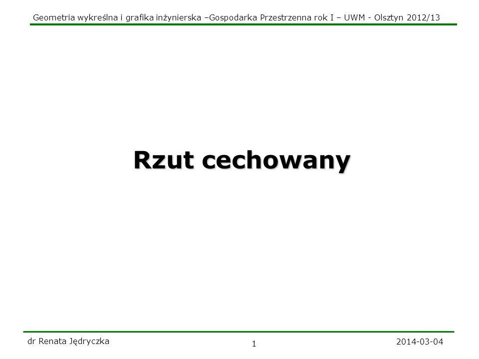 Geometria wykreślna i grafika inżynierska –Gospodarka Przestrzenna rok I – UWM - Olsztyn 2012/13 2014-03-04 dr Renata Jędryczka 12 Punkt przebicia prostej z płaszczyzną k P(?) 1 0 a Plan konstrukcji: 1.Przez prostą a prowadzimy dowolna płaszczyznę s 2.Wyznaczamy krawędź k płaszczyzn i 3.Punkt wspólny krawędzi k i prostej a jest szukanym punktem P Zadanie: należy wyznaczyć punkt P - wspólny danej prostej a i płaszczyzny Cechę punktu P wyznaczamy korzystając z tw.