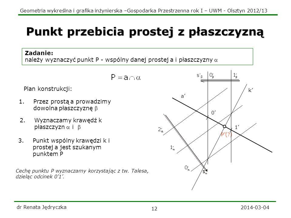 Geometria wykreślna i grafika inżynierska –Gospodarka Przestrzenna rok I – UWM - Olsztyn 2012/13 2014-03-04 dr Renata Jędryczka 12 Punkt przebicia pro