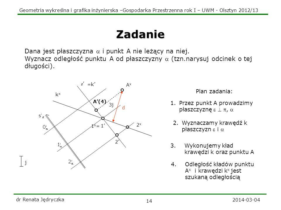 Geometria wykreślna i grafika inżynierska –Gospodarka Przestrzenna rok I – UWM - Olsztyn 2012/13 2014-03-04 dr Renata Jędryczka 14 kxkx 1x=1x= 2x2x s