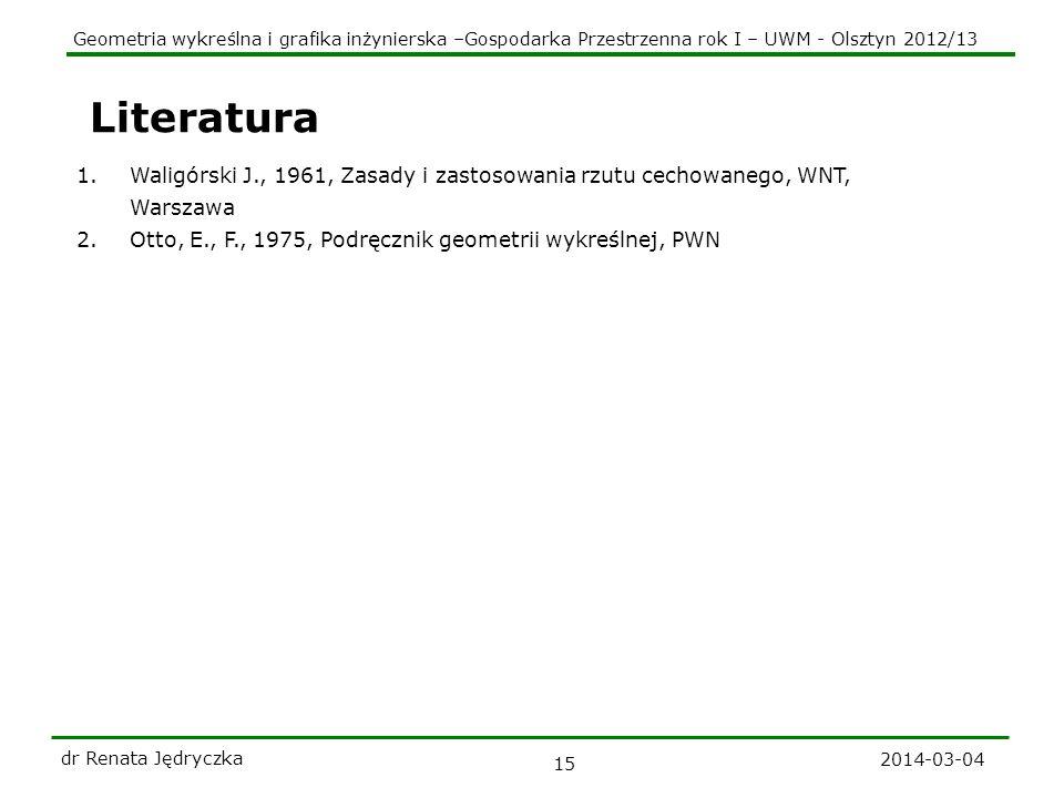 Geometria wykreślna i grafika inżynierska –Gospodarka Przestrzenna rok I – UWM - Olsztyn 2012/13 2014-03-04 dr Renata Jędryczka 15 Literatura 1.Waligó