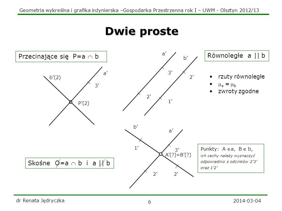 Geometria wykreślna i grafika inżynierska –Gospodarka Przestrzenna rok I – UWM - Olsztyn 2012/13 2014-03-04 dr Renata Jędryczka 6 b(2) Dwie proste Prz