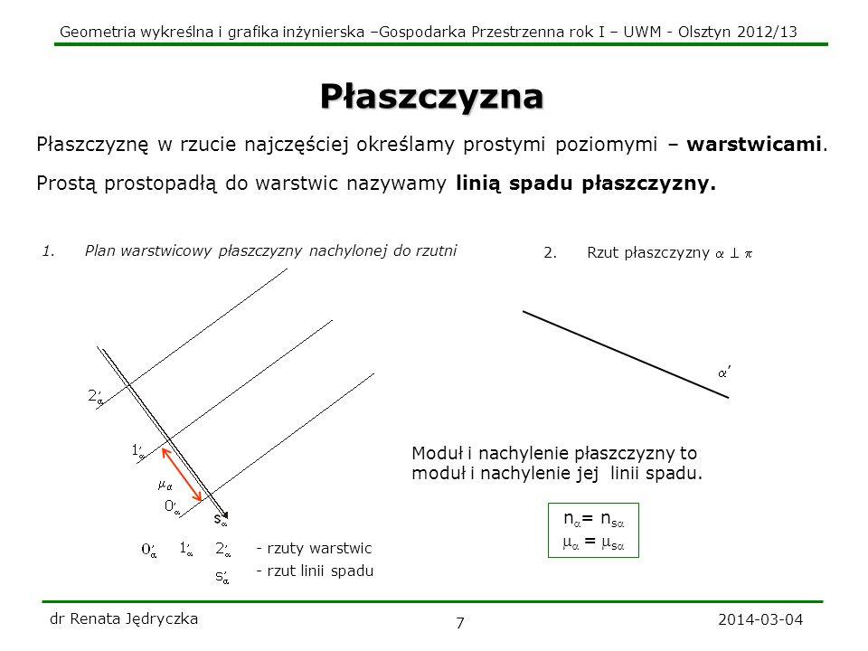 Geometria wykreślna i grafika inżynierska –Gospodarka Przestrzenna rok I – UWM - Olsztyn 2012/13 2014-03-04 dr Renata Jędryczka 8 Prosta a płaszczyzna 0 2 1 a a a b || b || b 1 b 4 3 b 1 2 1