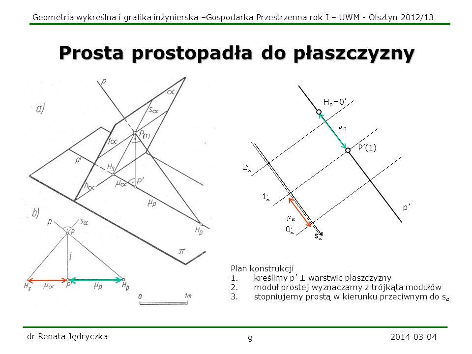 Geometria wykreślna i grafika inżynierska –Gospodarka Przestrzenna rok I – UWM - Olsztyn 2012/13 2014-03-04 dr Renata Jędryczka 10 Zadanie Dany jest zestopniowany rzut prostej a.