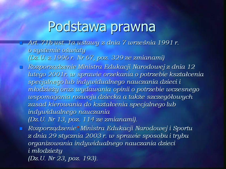 Podstawa prawna n Art. 71b ust. 1a ustawy z dnia 7 września 1991 r. o systemie oświaty (Dz.U. z 1996 r. Nr 67, poz. 329 ze zmianami) n Rozporządzenie