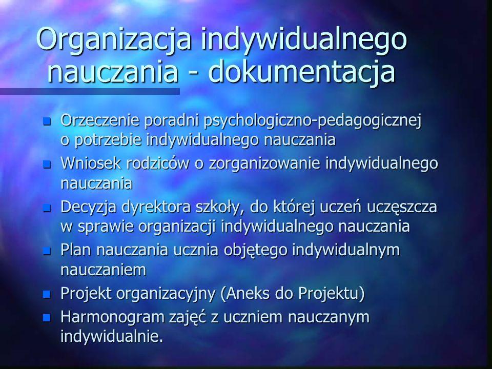 Organizacja indywidualnego nauczania - dokumentacja n Orzeczenie poradni psychologiczno-pedagogicznej o potrzebie indywidualnego nauczania n Wniosek r