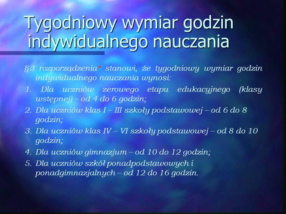 Miejsce prowadzenia indywidualnego nauczania n Zgodnie z §2 ust.4 ww.