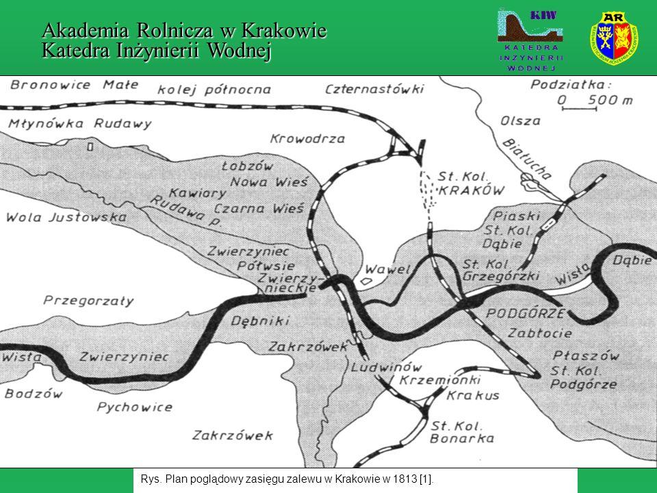 Rys. Plan poglądowy zasięgu zalewu w Krakowie w 1813 [1]. Akademia Rolnicza w Krakowie Katedra Inżynierii Wodnej
