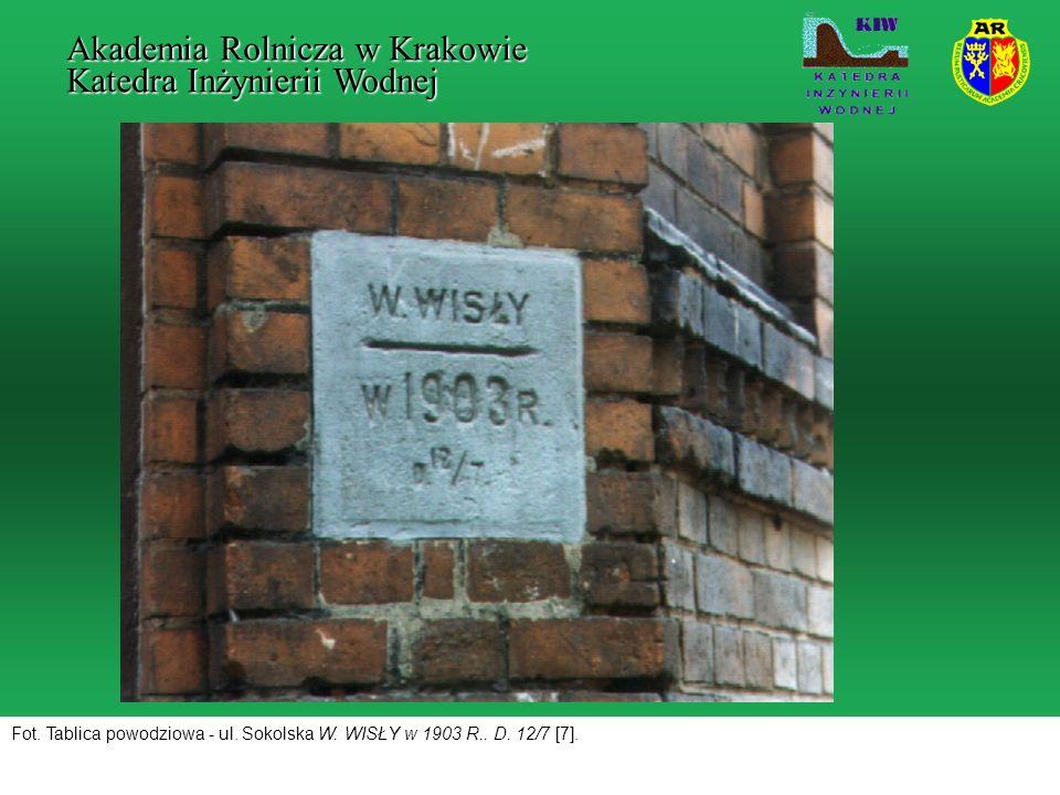 Fot. Tablica powodziowa - ul. Sokolska W. WISŁY w 1903 R.. D. 12/7 [7]. Akademia Rolnicza w Krakowie Katedra Inżynierii Wodnej