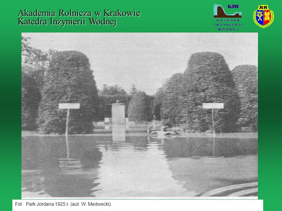 Fot. Park Jordana 1925 r. (aut. W. Medwecki). Akademia Rolnicza w Krakowie Katedra Inżynierii Wodnej