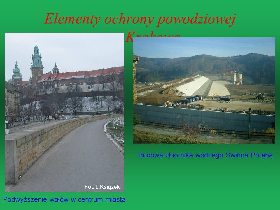 Elementy ochrony powodziowej Krakowa Podwyższenie wałów w centrum miasta Budowa zbiornika wodnego Świnna Poręba Fot. L.Książek