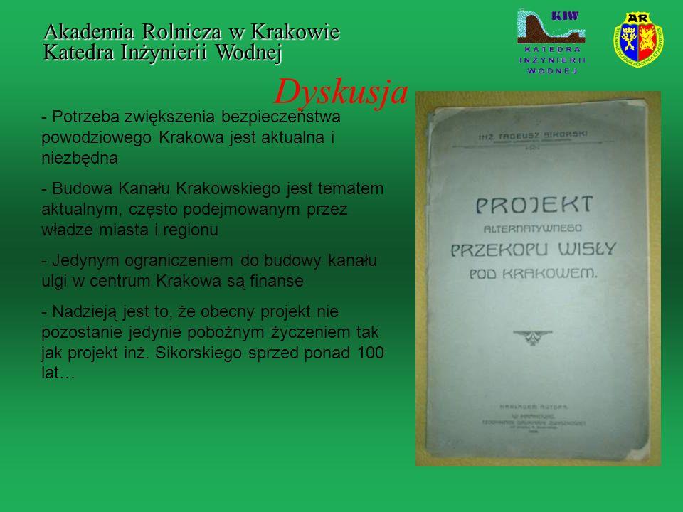 Dyskusja - Potrzeba zwiększenia bezpieczeństwa powodziowego Krakowa jest aktualna i niezbędna - Budowa Kanału Krakowskiego jest tematem aktualnym, czę