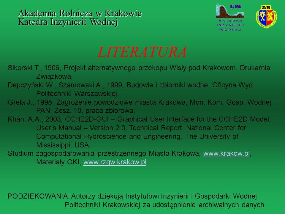 LITERATURA Sikorski T., 1906, Projekt alternatywnego przekopu Wisły pod Krakowem, Drukarnia Związkowa, Depczyński W., Szamowski A., 1999, Budowle i zb