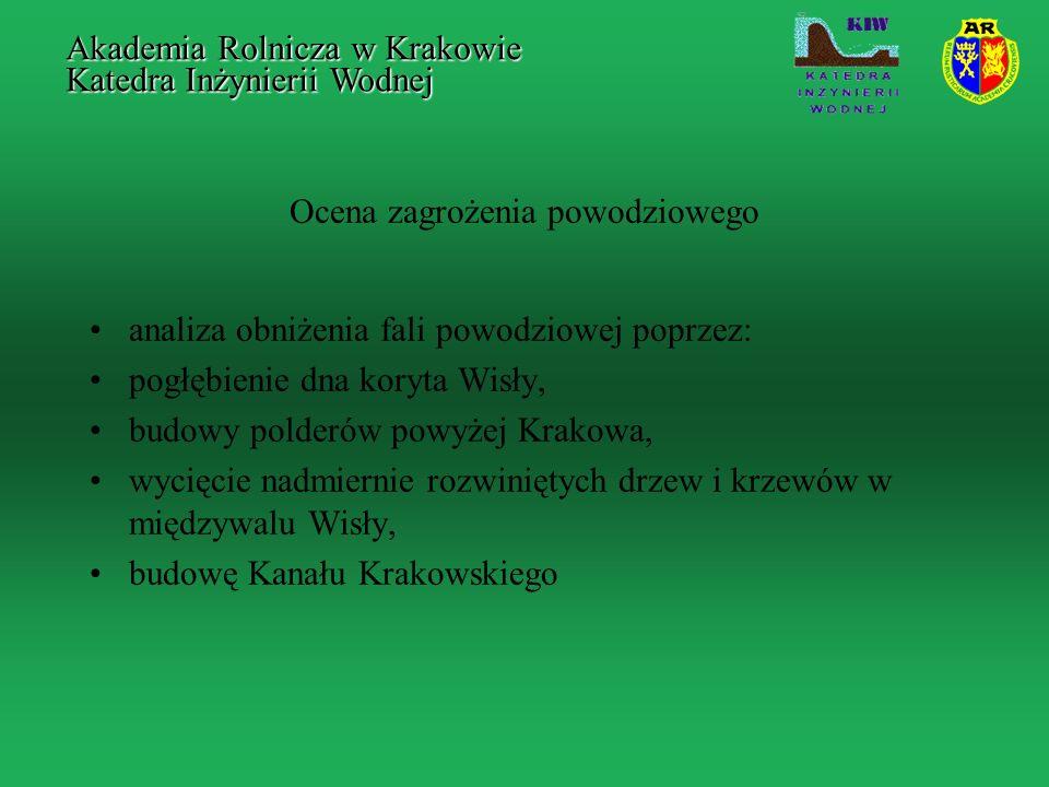 Ocena zagrożenia powodziowego analiza obniżenia fali powodziowej poprzez: pogłębienie dna koryta Wisły, budowy polderów powyżej Krakowa, wycięcie nadm