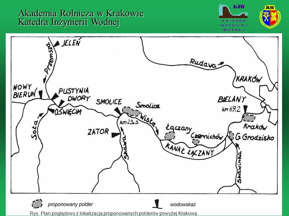 Rys. Plan poglądowy z lokalizacją proponowanych polderów powyżej Krakowa. Akademia Rolnicza w Krakowie Katedra Inżynierii Wodnej