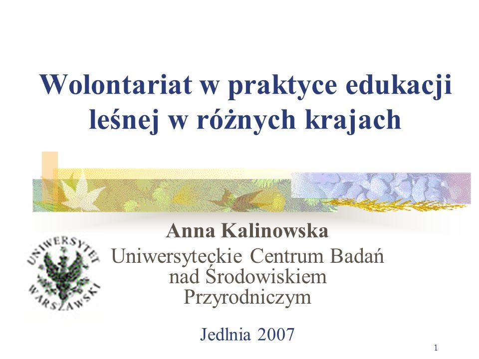 Jedlnia 2007 1 Wolontariat w praktyce edukacji leśnej w różnych krajach Anna Kalinowska Uniwersyteckie Centrum Badań nad Środowiskiem Przyrodniczym