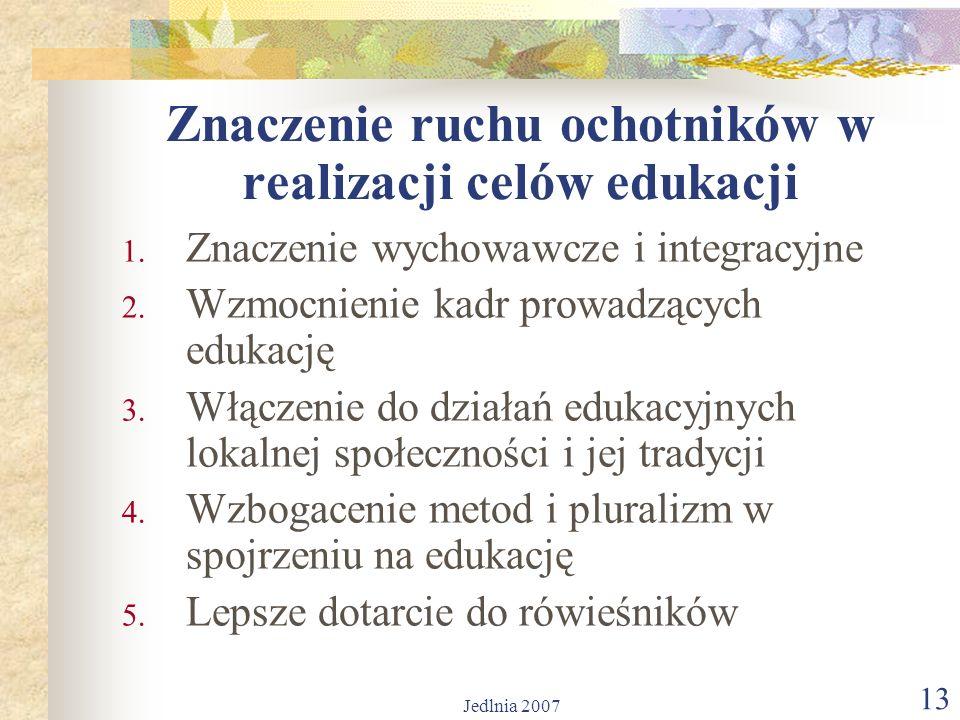 Jedlnia 2007 13 Znaczenie ruchu ochotników w realizacji celów edukacji 1.
